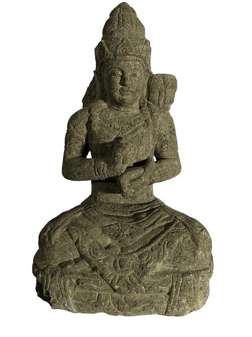 Sitting Sri Devi (Natural Greenstone)