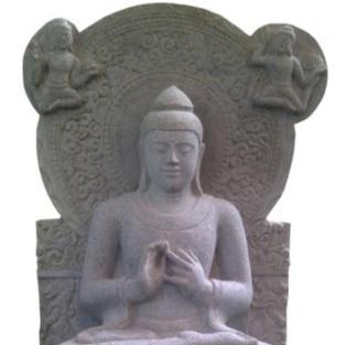 Sitting Buddha Relief (Riverstone)