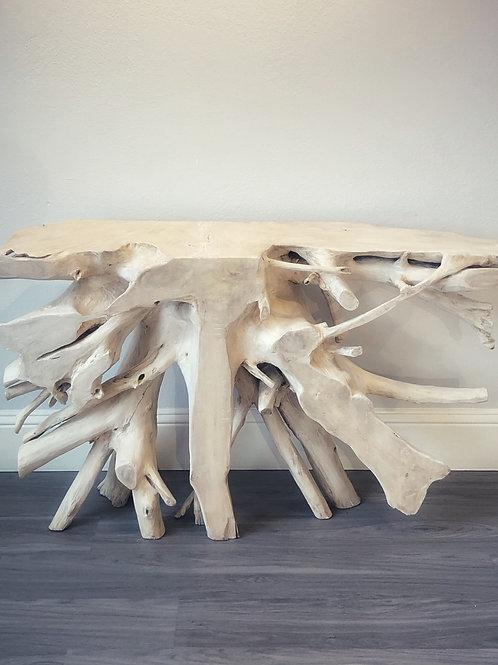 Teak Root Console Table - Bone Finish