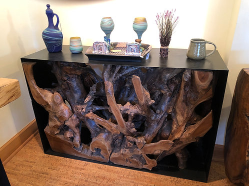 Wrought Iron Teak Root Console Table