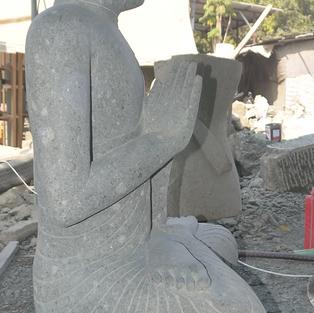 Greenstone Natural Sitting Buddha Side