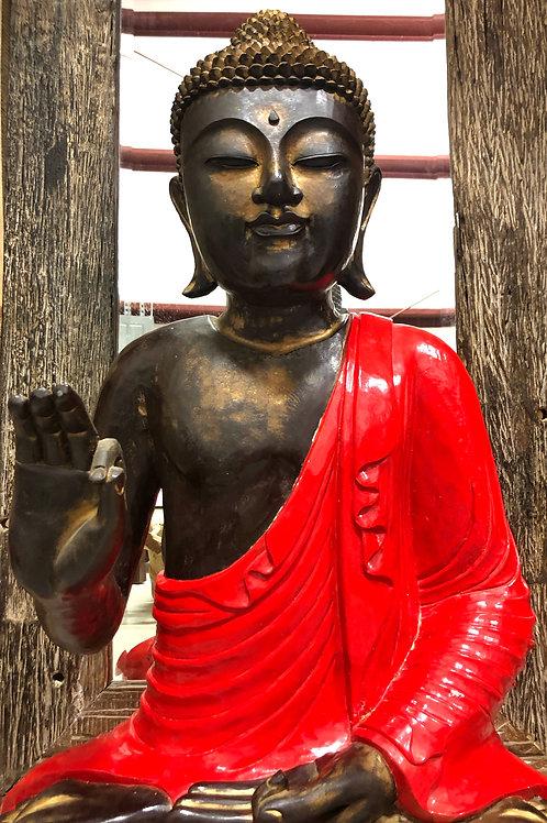 Teak Sitting Buddha (Red)