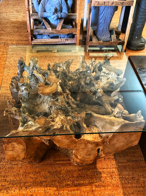 Square Teak Root Coffee Table (Natural Finish)