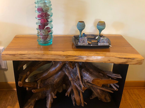 Wrought Iron Teak Root Console Table (Suar Slab Top)