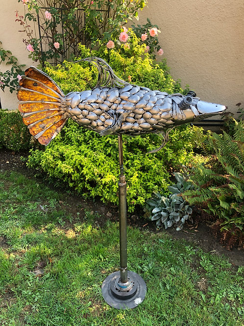 Spinning Fish (Recycled Metal)