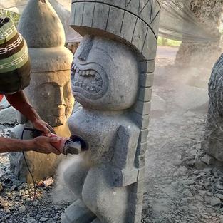 Tiki Man Carving in Progress