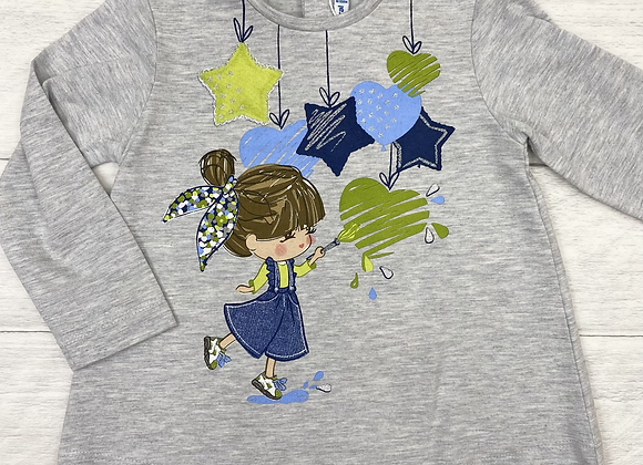 Mayoral baby girl hearts and stars top