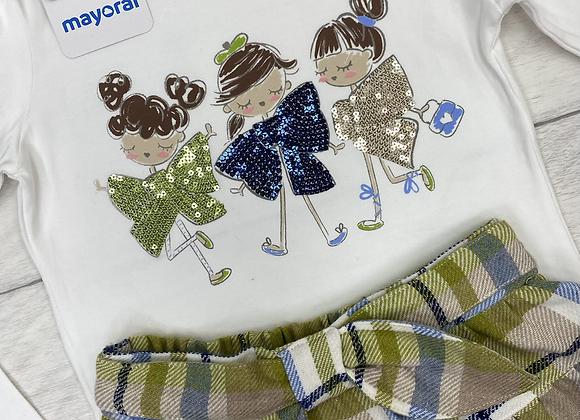 Mayoral girl bow top and shorts set