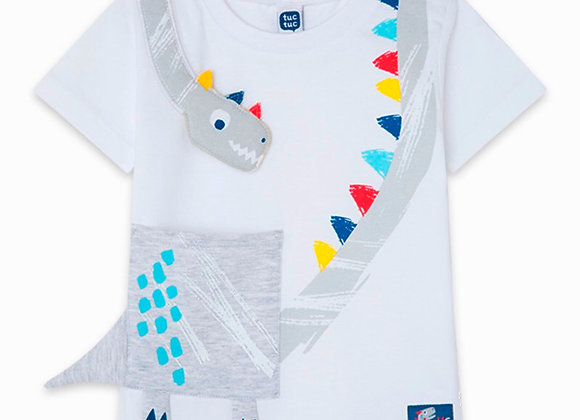 Tuc Tuc WHITE DINOSAUR JERSEY T-SHIRT FOR BOYS DRAW A REX