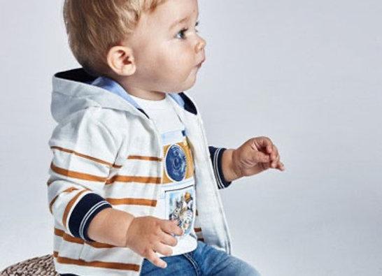 Mayoral baby boy caramel stripe hoodie