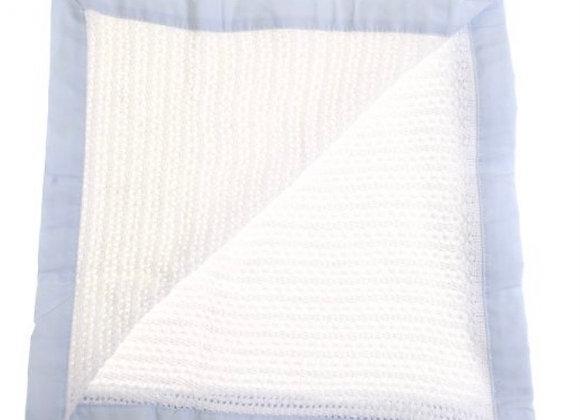 Ziggle white and blue cellular blanket