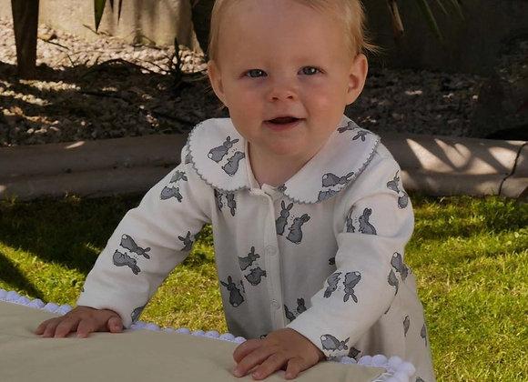 Rachel Riley grey bunny babygro