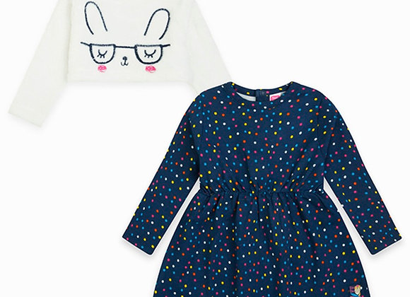 Tuc Tuc Jersey Dress and Soft Jumper 2 Pieces in 1