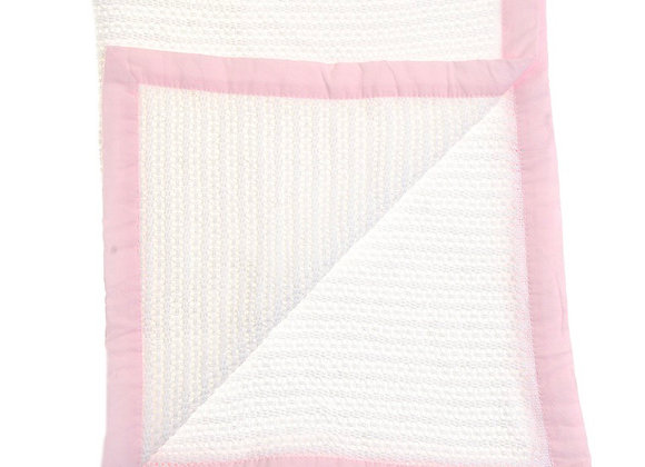 Ziggle white and pink cellular blanket