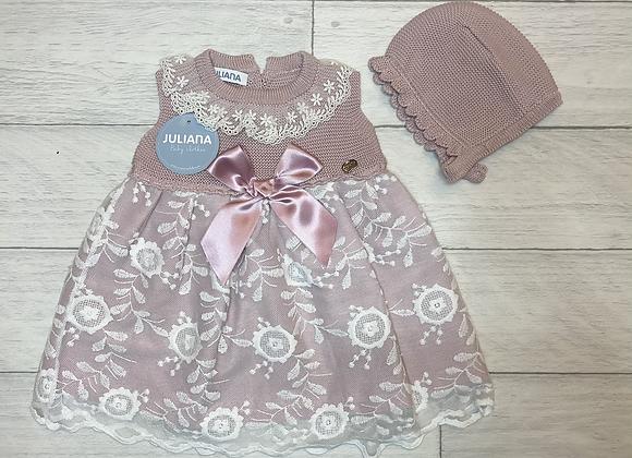 Juliana lace bow dress and bonnet