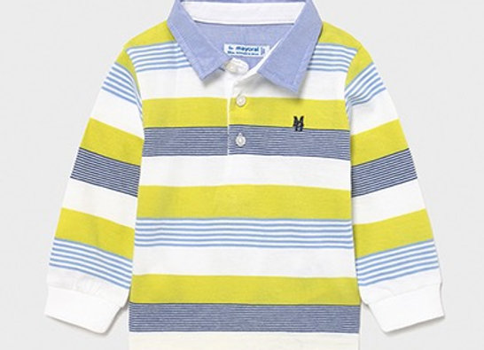 Mayoral lime stripe long sleeved polo