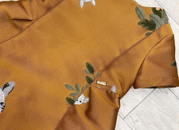 Pan Con Chocolate mustard dog dress
