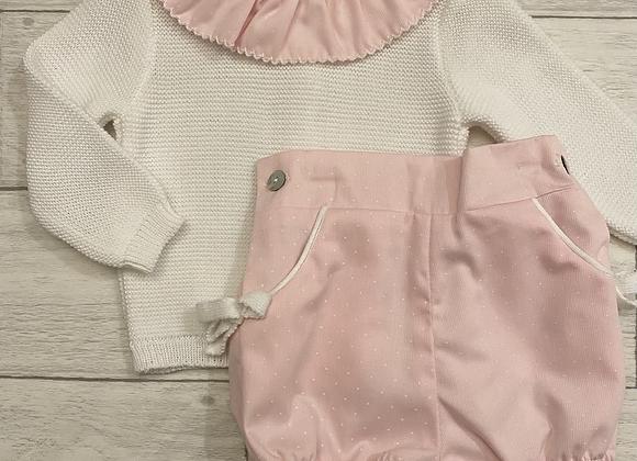 Spanish baby girl knit romper set