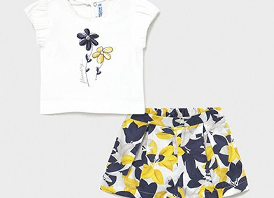 Mayoral baby girl flower shorts set