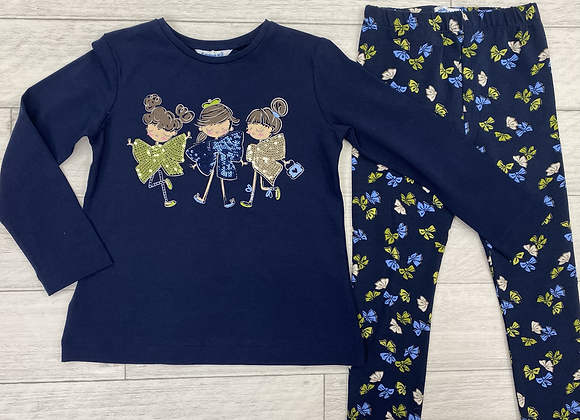 Mayoral girl green bow top and leggings set