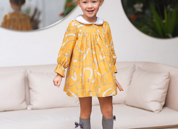 Rochy mustard chain dress with collar