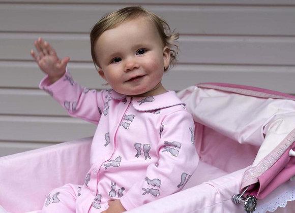 Rachel Riley pink bunny babygro
