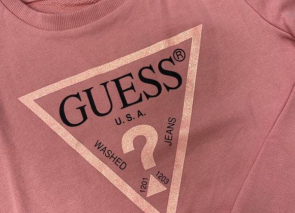 GUESS Pink Sparkle Logo Sweatshirt
