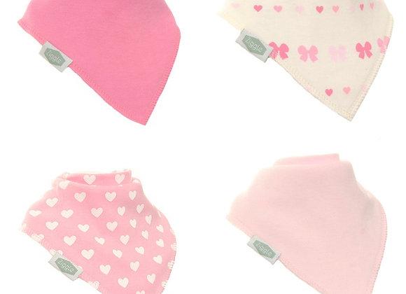 Ziggle pretty pink bows and hearts bandana bib set