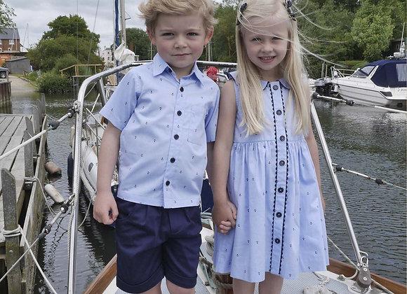 Rachel Riley baby girls  blue anchor dress