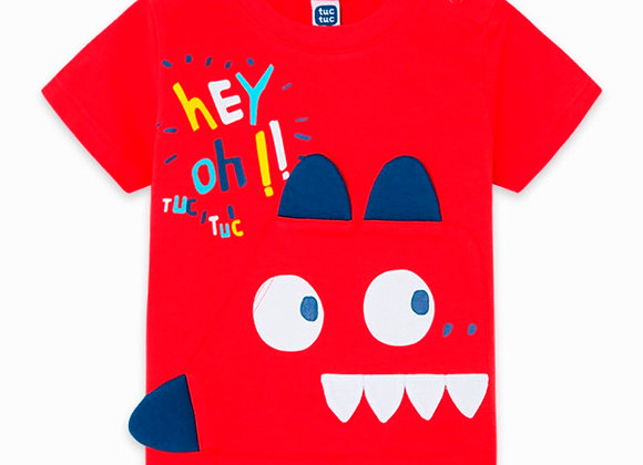 Tuc Tuc RED POCKET AND EARS JERSEY T-SHIRT FOR BOYS DRAW A REX