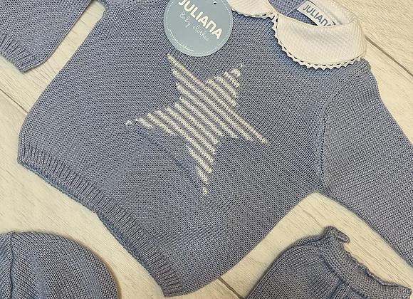 Juliana blue star knit set