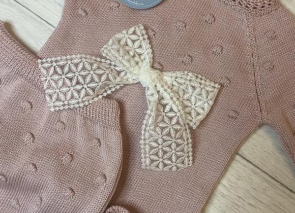 Juliana baby bow romper knit