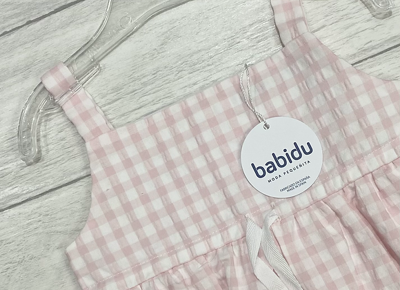 Babidu pink gingham pinafore dress