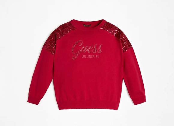 Guess Fuchsia Sequin Inserts Front Logo Sweater