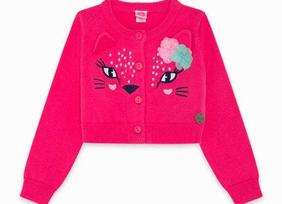 Tuc Tuc Pink Knit Cat Eye Cardigan