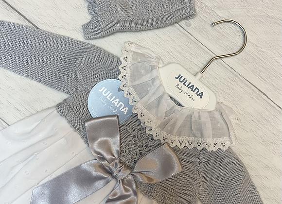 Juliana grey and white long robe dress and bonnet