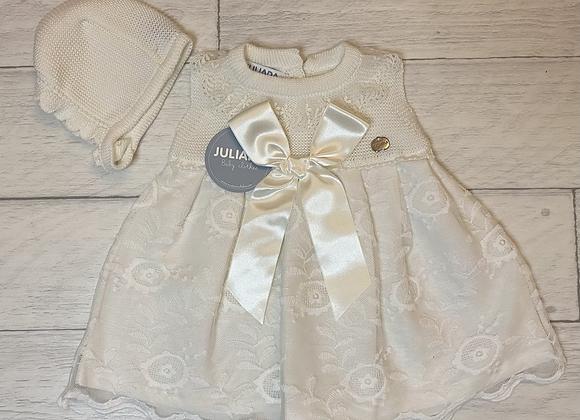 Juliana cream lace dress and bonnet
