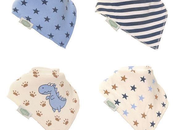Ziggle dino and stars bandana bib set