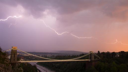 Lightning over Clifton Suspension Bridge