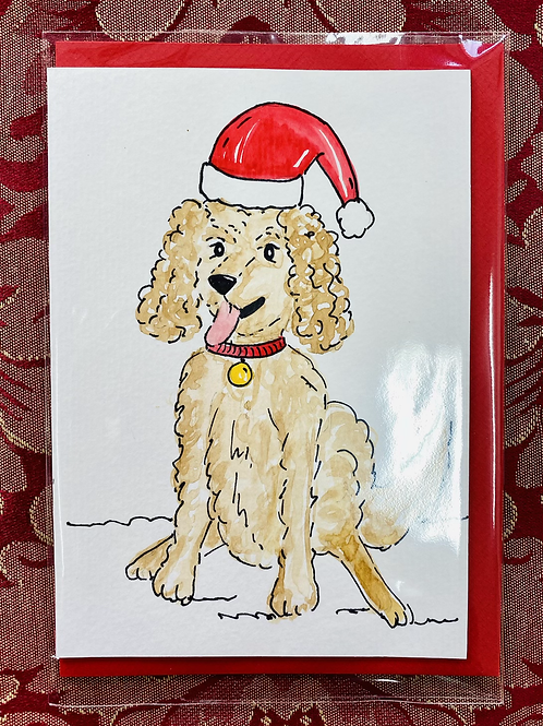 Hand Painted Card - Fluffy Festive Pup
