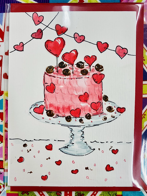 Hand Painted Card - Valentine's Cake