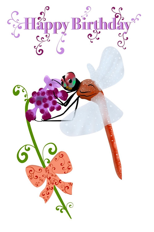 Dragon Fly Birthday Card