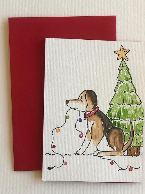 """Hand Painted Card - """"Tomas helps decorate"""""""
