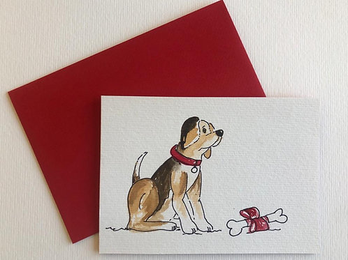 """Hand Painted Card - """"Puppy & his bone"""""""