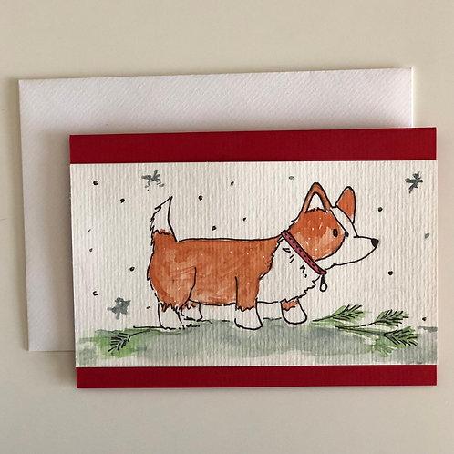"Hand Painted Card - ""Corgi"""