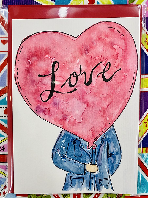 Hand Painted Card - Love