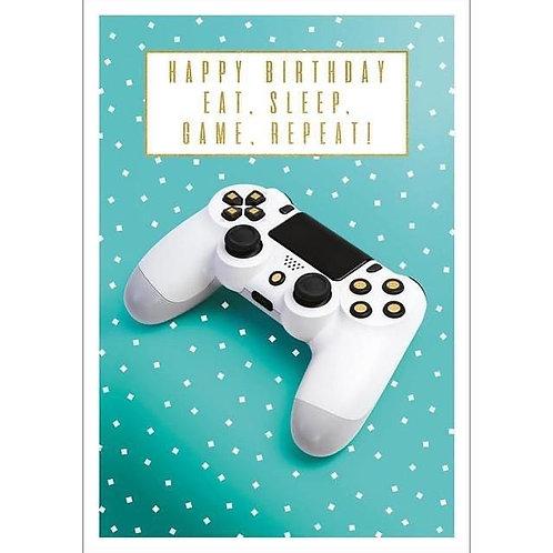 Happy Birthday Eat, Sleep, Game, Repeat Card