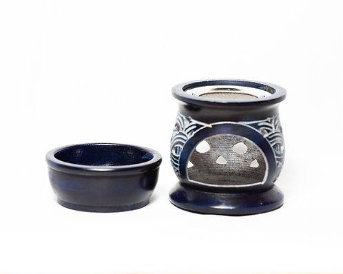 Aromalampe dunkelblau mit Sieb zum Räuchern