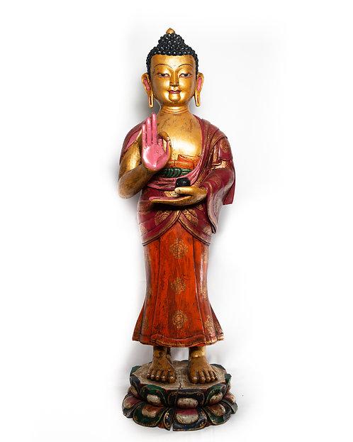 Stehender Buddha aus Holz