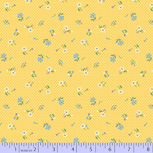 Aunt Grace's Apron-Small Flowers on Yellow